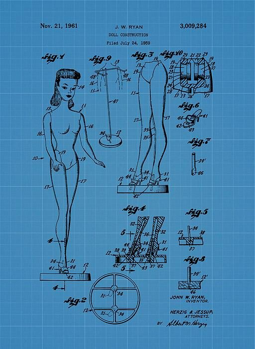 A5 historic toy wall art Barbie Doll Construction Patent art print 1961  A4