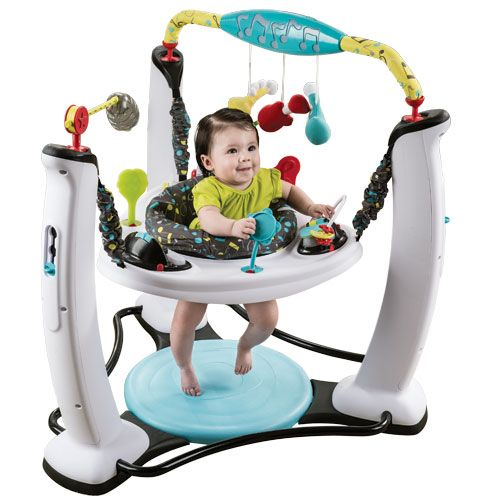 Jam Session Jumper Bounce  Jam Session Jumper Toys      The Evenflo® ExerSaucer® Jump & Learn™ offers parents a safe and stable environment for their children to jump, learn and play. A variety of age-appropriate toys were developed in conjunction with the Child Development Institute to help baby achieve important developmental milestones. Spin and jump actions also provide baby with plenty of exercise to strengthen gross motor skills.