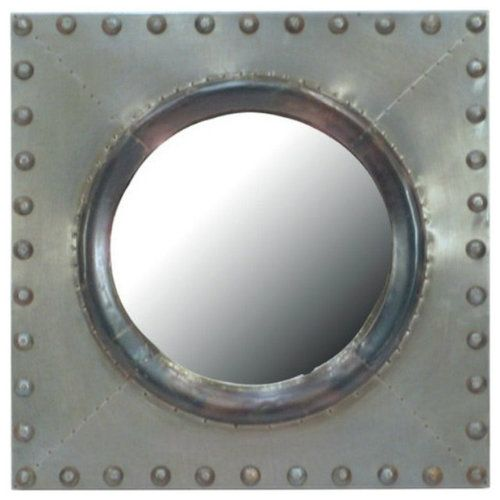 Rustica House square zinc mirror with round glass and bolted frame. #myrustica