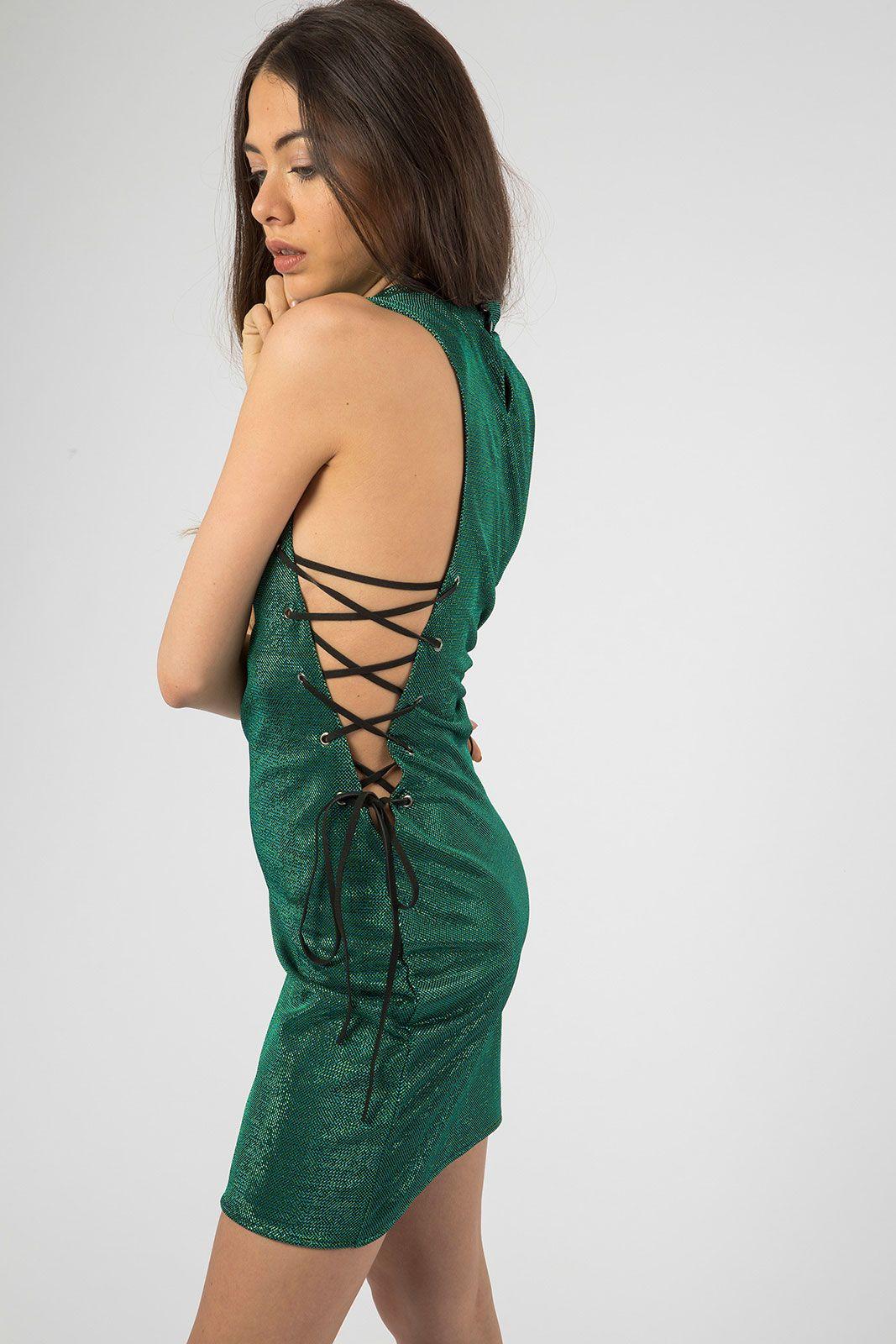 Green Metallic Side Lace Up Mini Dress Dresses Green Mini Dress Unique Swimwear [ 1600 x 1067 Pixel ]
