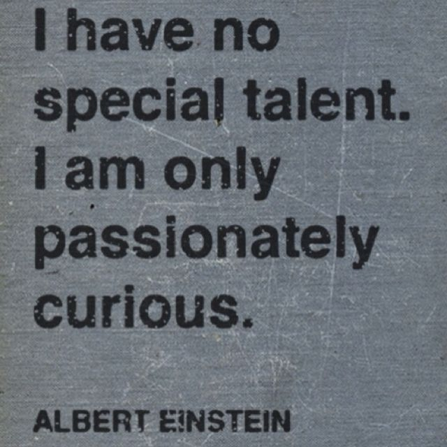 I have no special talent. I am only passionately curious.  -Albert Einstein