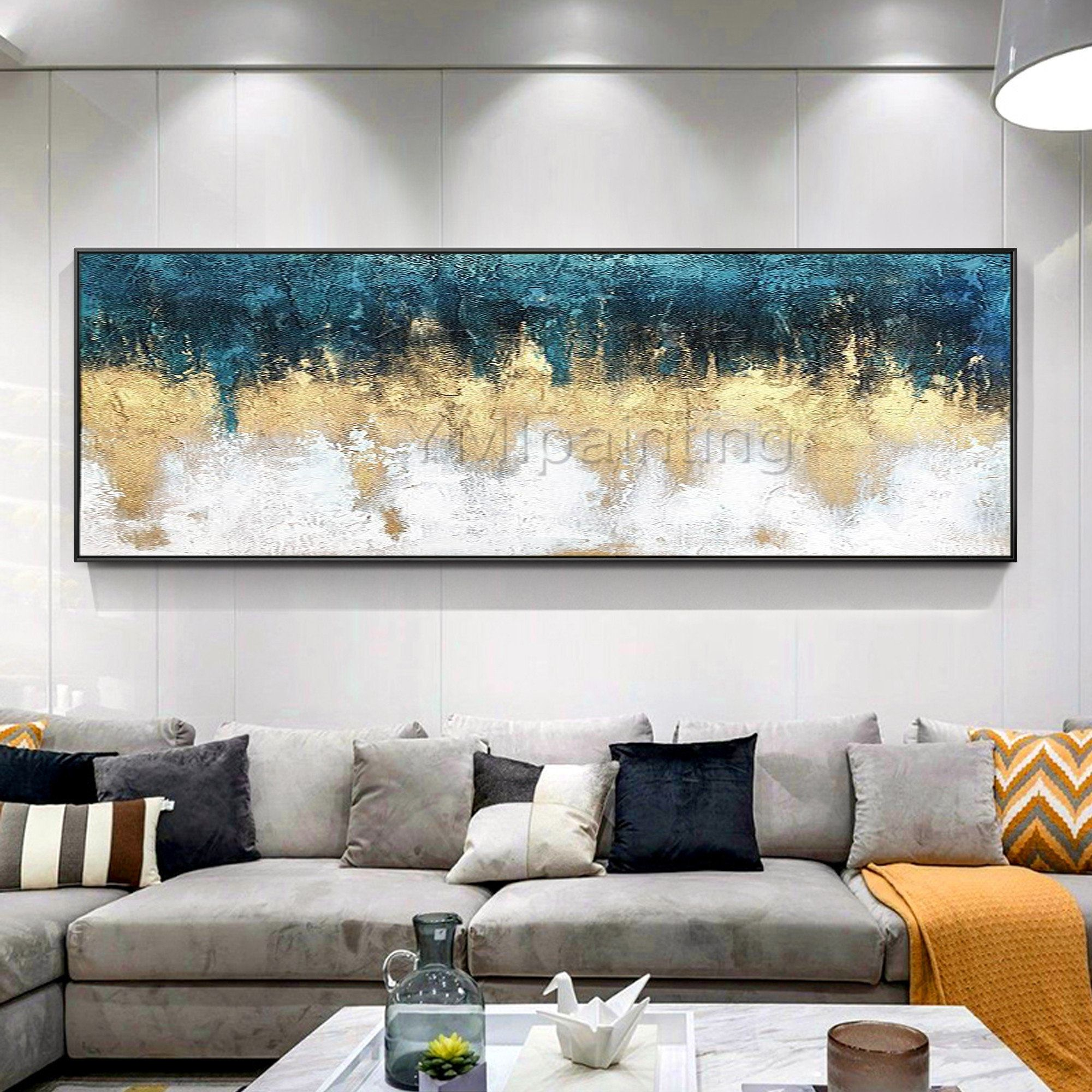 Framed Wall Art Acrylic Abstract Gold Blue Original Paintings Etsy In 2021 Horizontal Wall Art Horizontal Painting Extra Large Wall Art