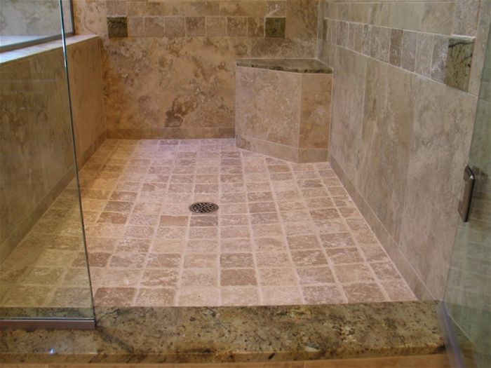 This Travertine Shower Uses Granite Slabs And Tiles As Accents As Well As  The Top For