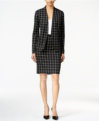 e410c49e3be Tommy Hilfiger Windowpane Jacket & Pencil Skirt - Suits & Suit Separates -  Women - Macy's