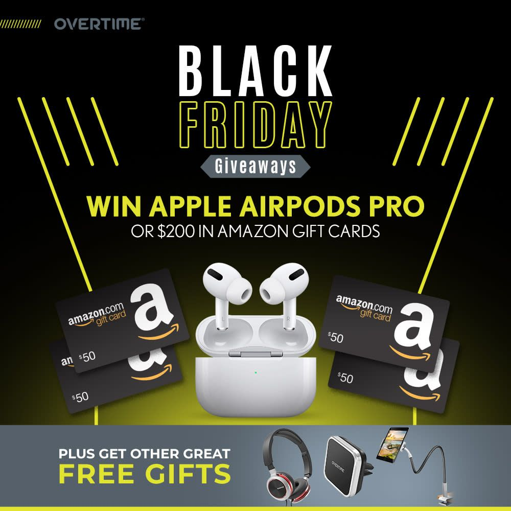 Overtime Is Doing A Giveaway Grand Prize Is Winners Choice Between Apple Airpods Pro Or A 200 Amazon Gif Amazon Gift Card Free Amazon Gifts Amazon Gift Cards