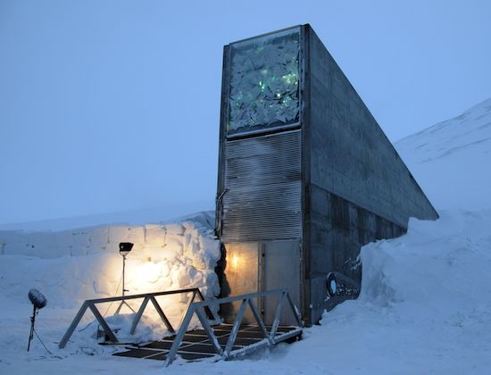 """Svalbard Global Seed Vault Turns Four. --- """"Four years ago this week, researchers erected the sturdy, if homely, box called the Svalbard Global Seed Vault, or less formally, the Doomsday Vault, to store a variety of frozen seeds in case of disaster. Nearly 25,000 new samples will be added to the cave this week, bringing the total inventory to more than 740,000 specimens. It is, its backers say, """"the ultimate insurance policy for the world's food supply."""""""