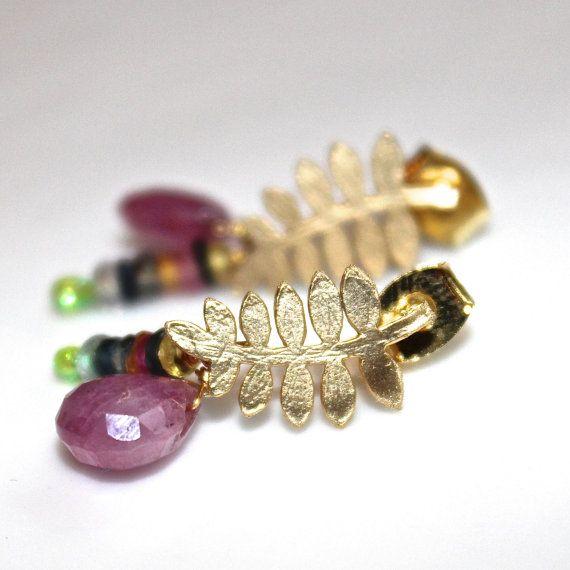 Rainbow Sapphire Pink Ruby Teardrop Gold Vermeil Fern Dangle Earrings Handmade Gemstone Jewelry