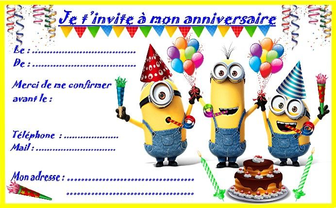 carte d invitation anniversaire garcon Etiquettes et invitations MINION pour les anniversaires | Carte
