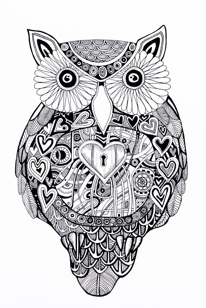 Mechanical Locket Heart By Laura Stenhouse In My House Yes Please Owl Coloring Pages Animal Coloring Pages Coloring Pages