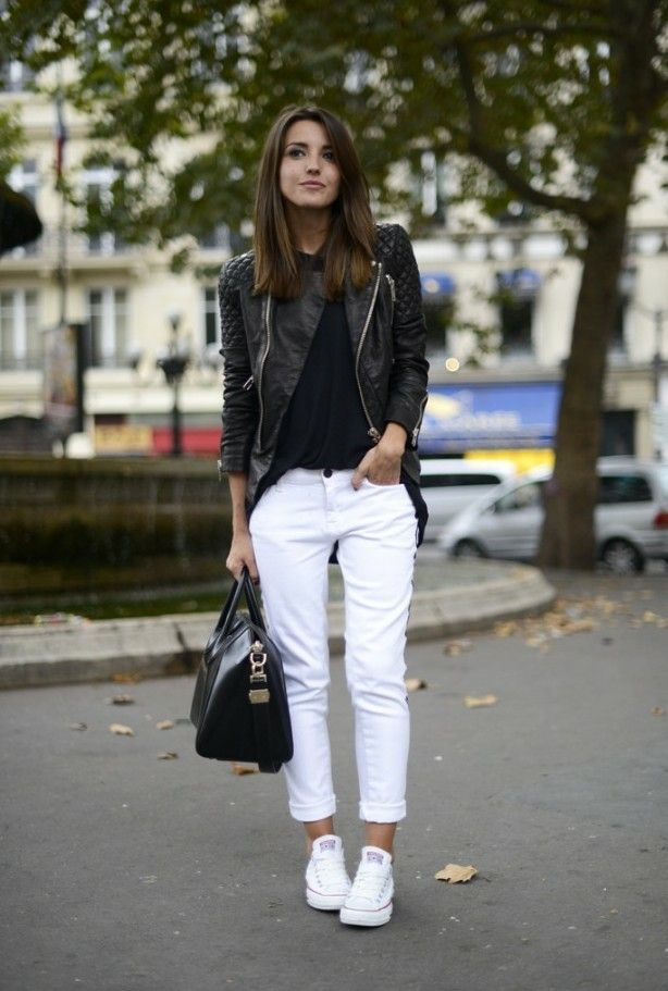 Chaqueta De Cuero Outfits Con Pantalon Blanco Ropa De Moda Pantalón Blanco Mujer