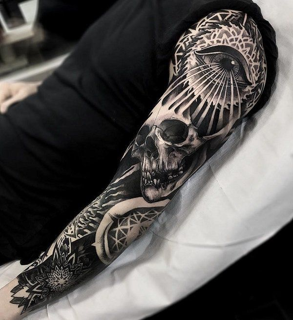 Skull With Eye Full Sleeve Tattoo 95 Awesome Examples Of Full