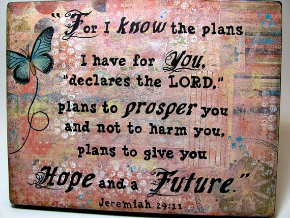 Mixed Media Collage - Print Mounted on Wood - Jeremiah 29:11 #woodtextureseamless