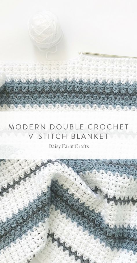 Free Pattern - Modern Double Crochet V-Stitch Blanket #crochet ...