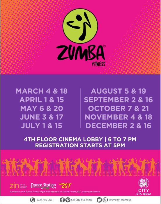 Spread the word!  It's ZUMBA FITNESS WEDNESDAYS again 6PM tomorrow, March 18 here SM CITY STA. MESA! We'll be giving out FREE GIFT CERTIFICATES to 5 lucky participants!  Registration starts 5PM at the 4th Floor Cinema Lobby! See you all ladies as we celebrate Women's Month this March!  ‪#‎iLoveSM‬ ‪#‎iLoveSMStaMesa‬ ‪#‎Zumba‬ ‪#‎Wednesdays‬