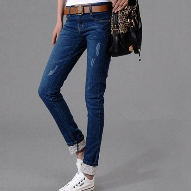 Ultralarge Women Jeans Spring/Autumn Plus Size Clothing Elastic Circle Edge Printed Pants Feet Pencil Jeans Summer Trousers T271