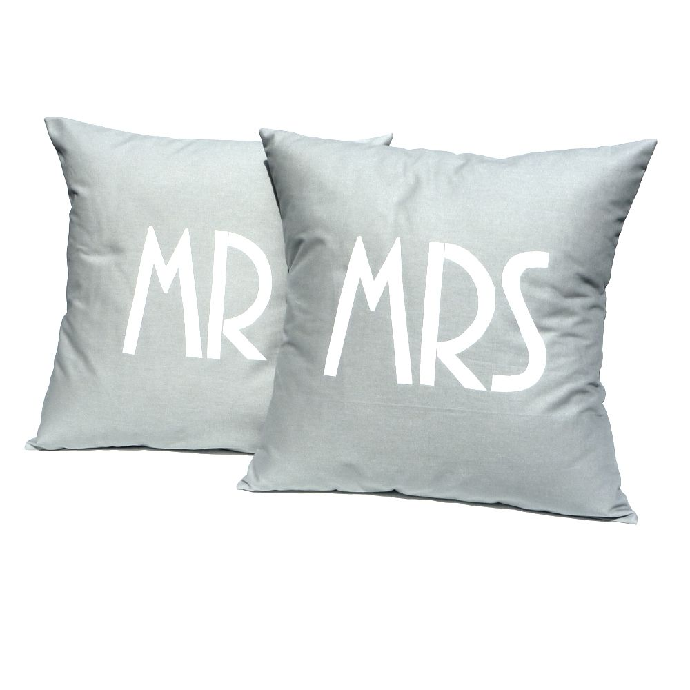 Mr mrs in grey handmade cushion covers great wedding present