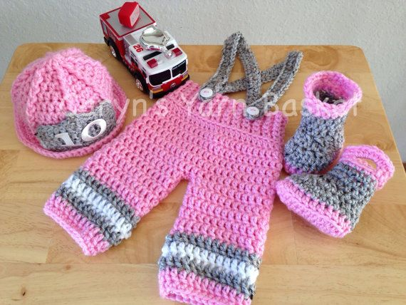 765afc341 Baby Girl Firefighter Fireman Pink Hat Outfit by CarynsYarnBasket, $70.00