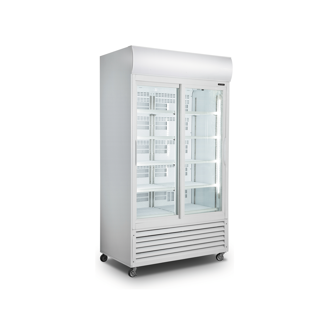 New General Upright Display Cooler Tropicalized 2 Door Dynamic Cooling Ventilated Fan Cooling No Fr Sliding Shelves Locker Storage Household Electronics