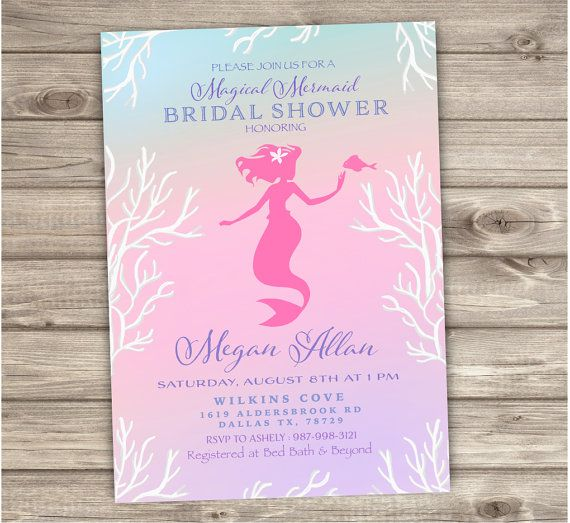 mermaid bridal shower invitations shabby chic little by cardmint