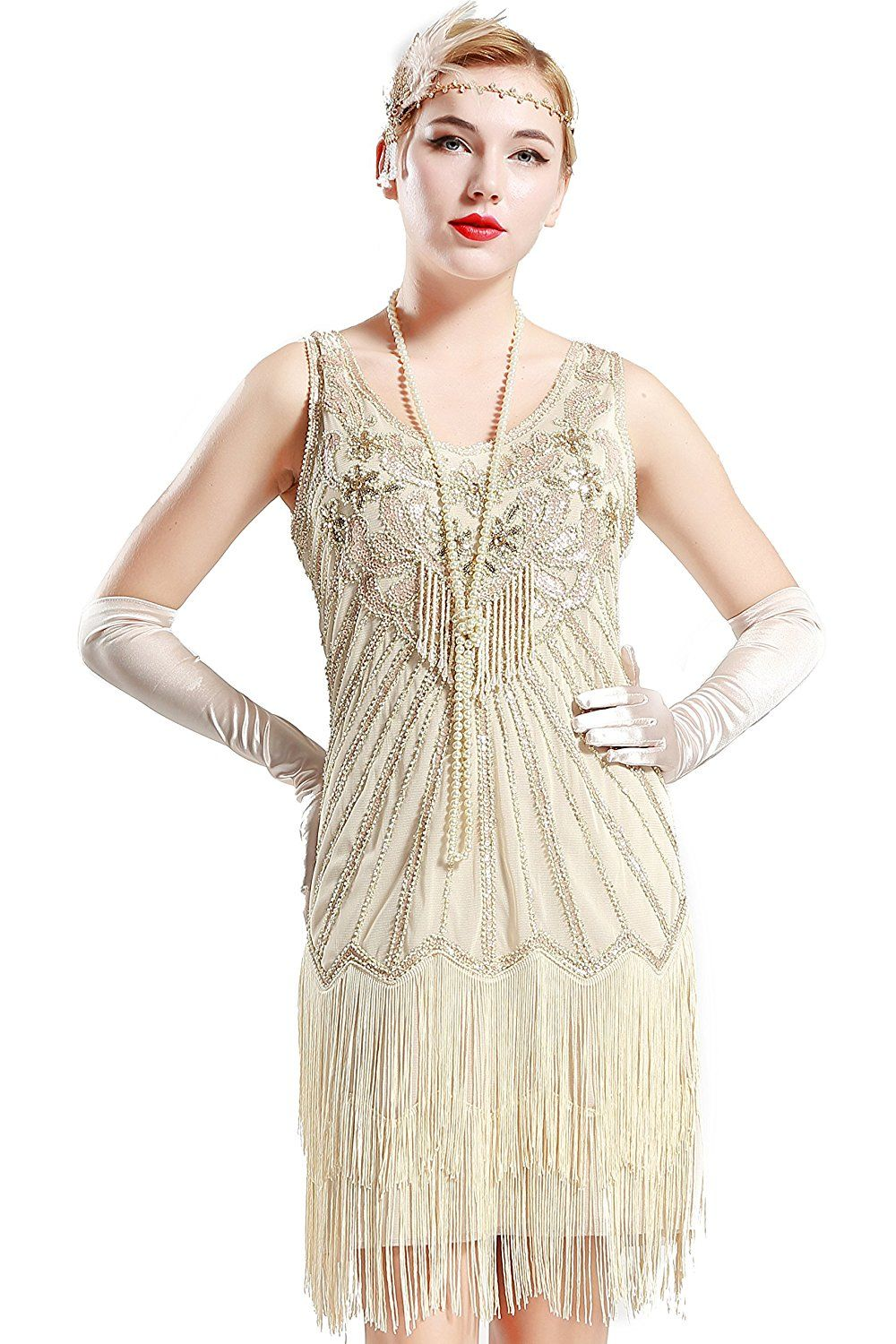 BABEYOND Women s Flapper Dresses 1920s V Neck Beaded Fringed Great Gatsby  Dress (Small, Green 04ceae8955