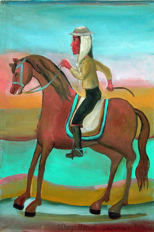 gaucho a caballo. Pintura en venta de la Serie Gauchos del artista argentino Diego Manuel