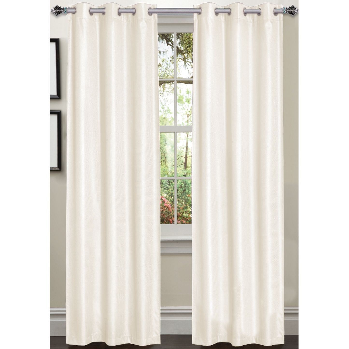 Luxury Dot Texture Faux Silk Blackout 84-inch Curtain Panel Pair ... for Off White Curtains Texture  288gtk