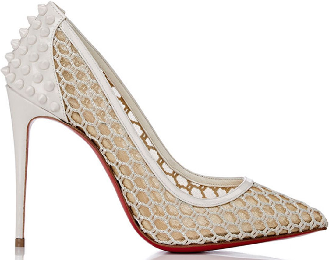 3dde9ab7490 Christian Louboutin White Guni Spike Mesh Pumps - Buy Online - Designer  Pumps