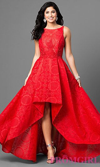 Long Red High-Low Lace Prom Dress | fashion | Pinterest