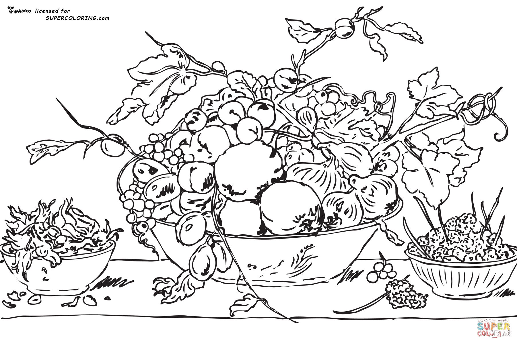 Download Fruits In A Bowl On A Red Tablecloth By Frans Snyders Coloring page   SuperColoring.com   Rysunki