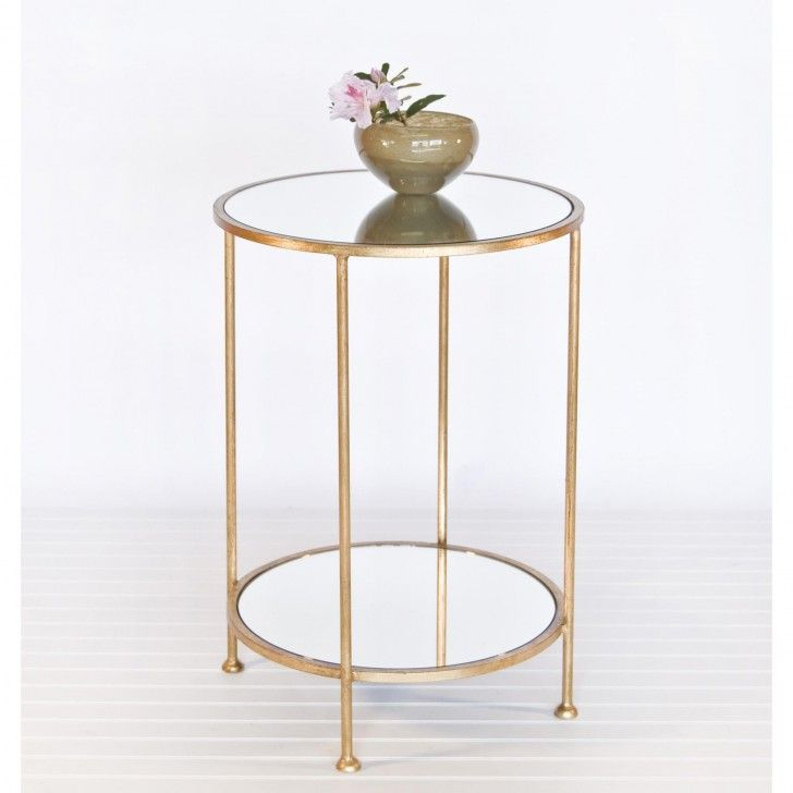 Awesome Furniture. Circle Bronze Metal Frame Bedside Table With Round Glass Top And  Rack Plus Brown