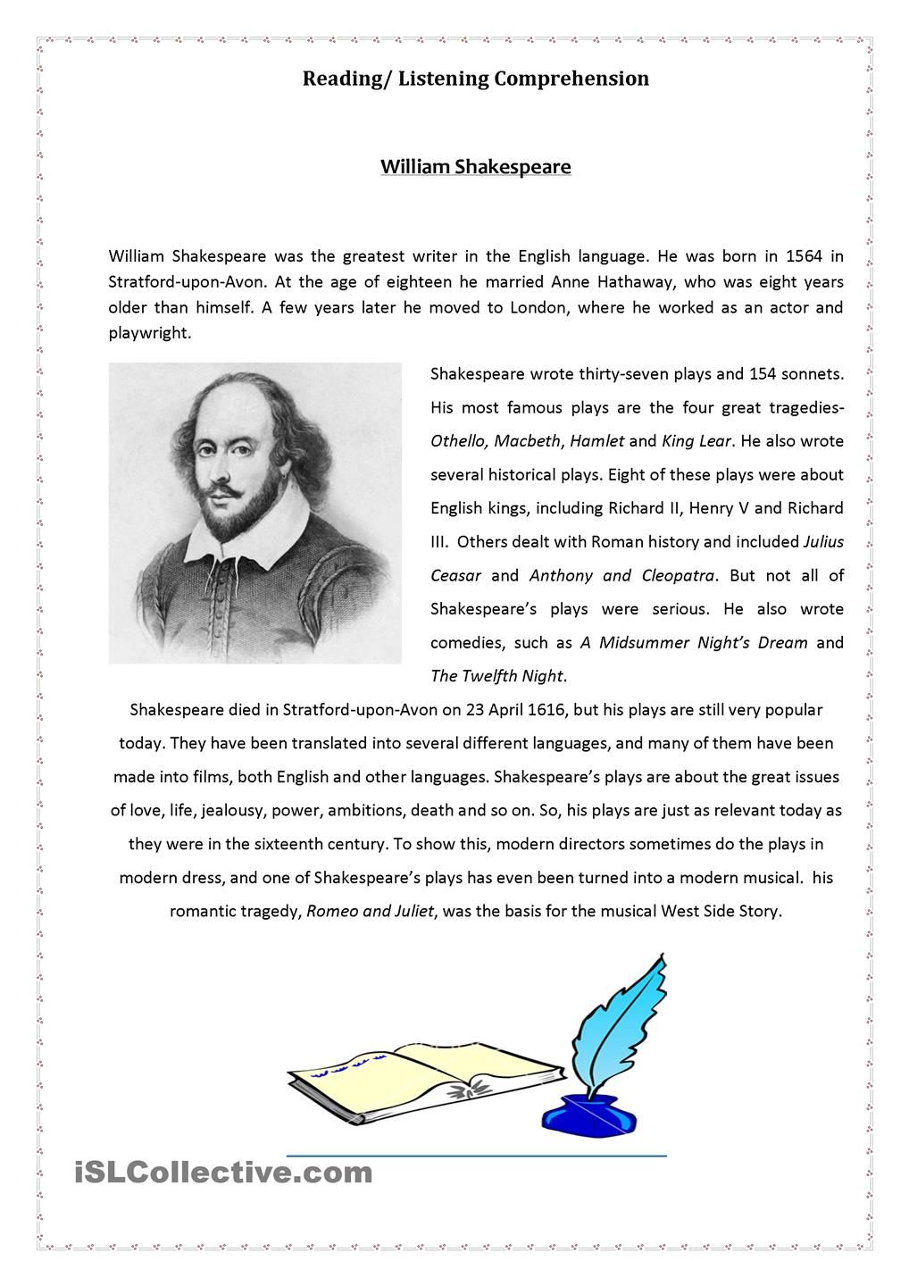 William Shakespeare Shakespeare Lessons Writing Comprehension Esl Reading Comprehension