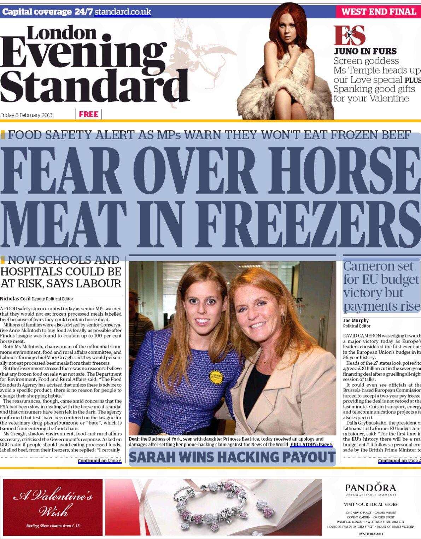 London Evening Standard 2/8/2013 - Duchess & Princess of York