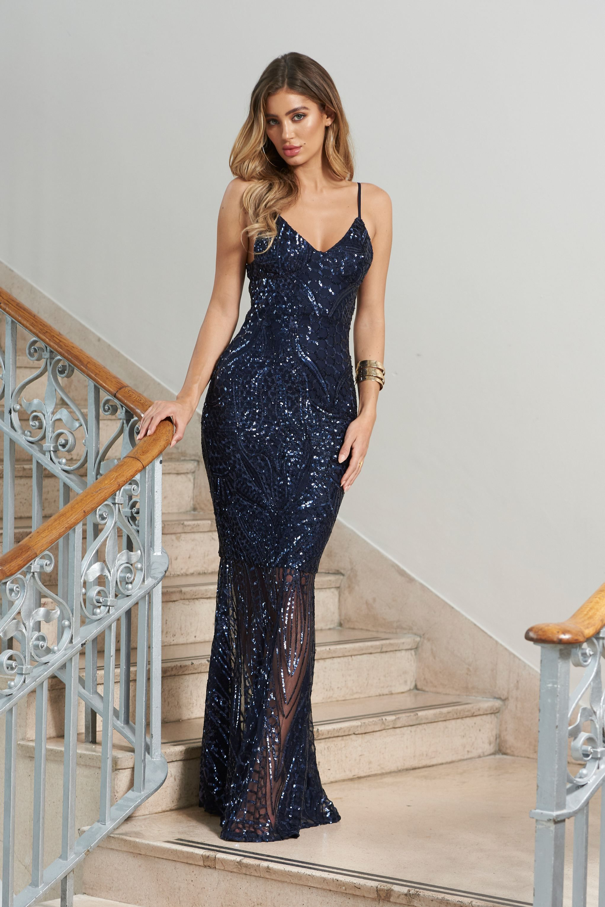 e6d139da01a Navy Sequin Fishtail Maxi Dress – Club L London