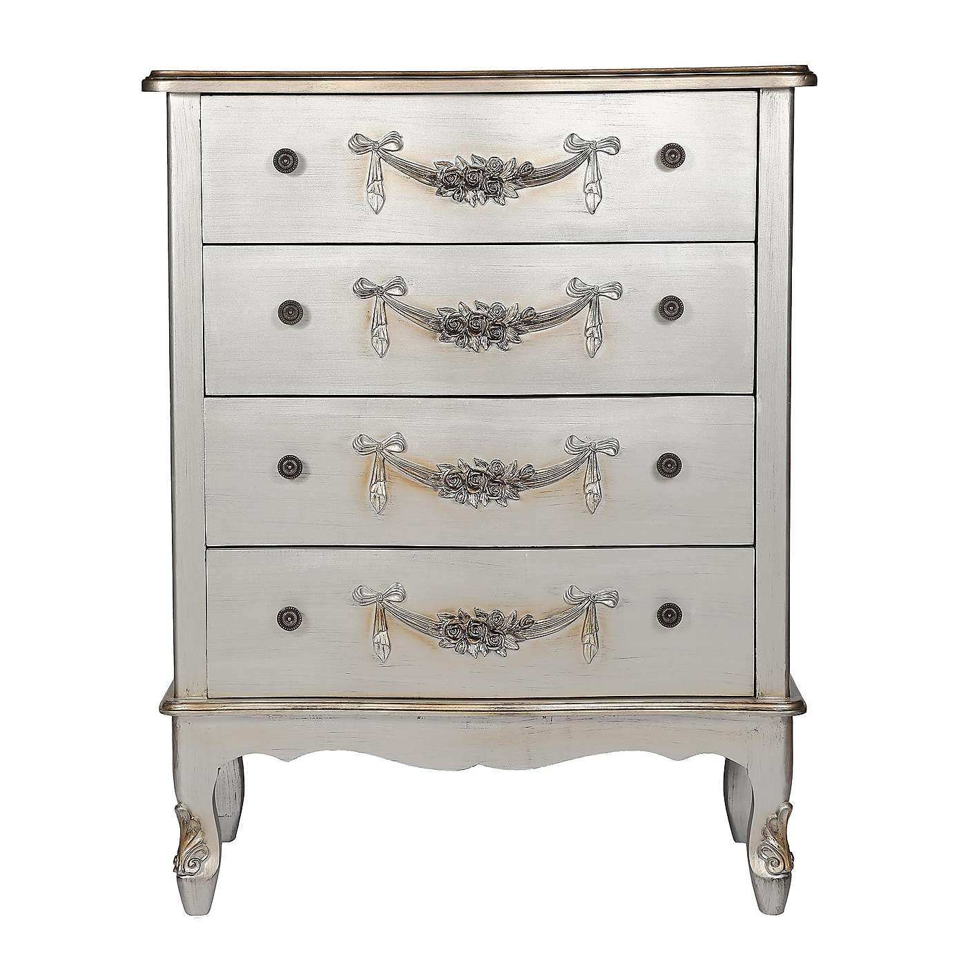 Best Toulouse Silver Wide 4 Drawer Chest Silver Bedroom 400 x 300