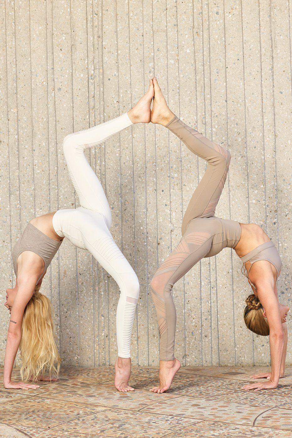 High-Waist Moto Legging | Two people yoga poses, Yoga ...