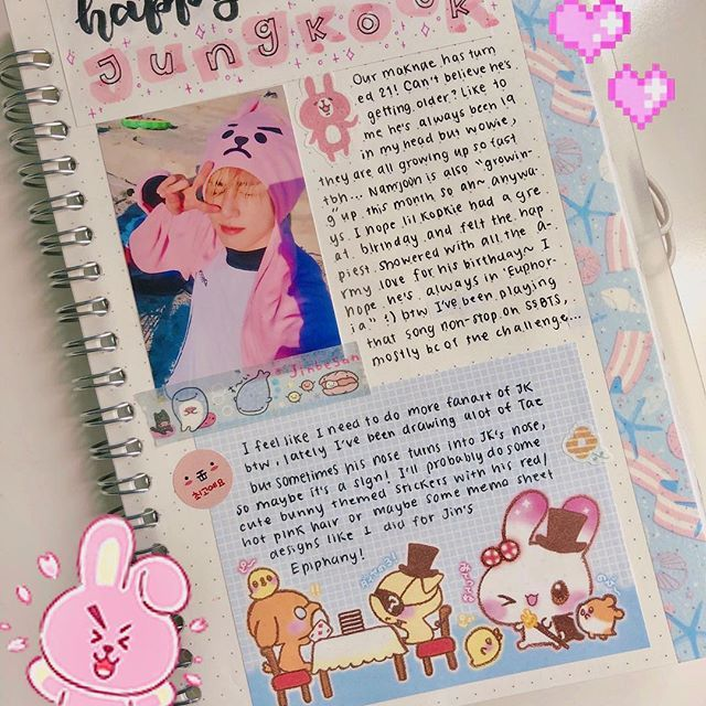 Happy Birthday Jungkook!! Yes I know I'm posting this late it's just I had a hate-love relationship with this spread so yeah... also, I have a new phone! So I should be taking better quality pictures and not steal my mom's phone anymore ~