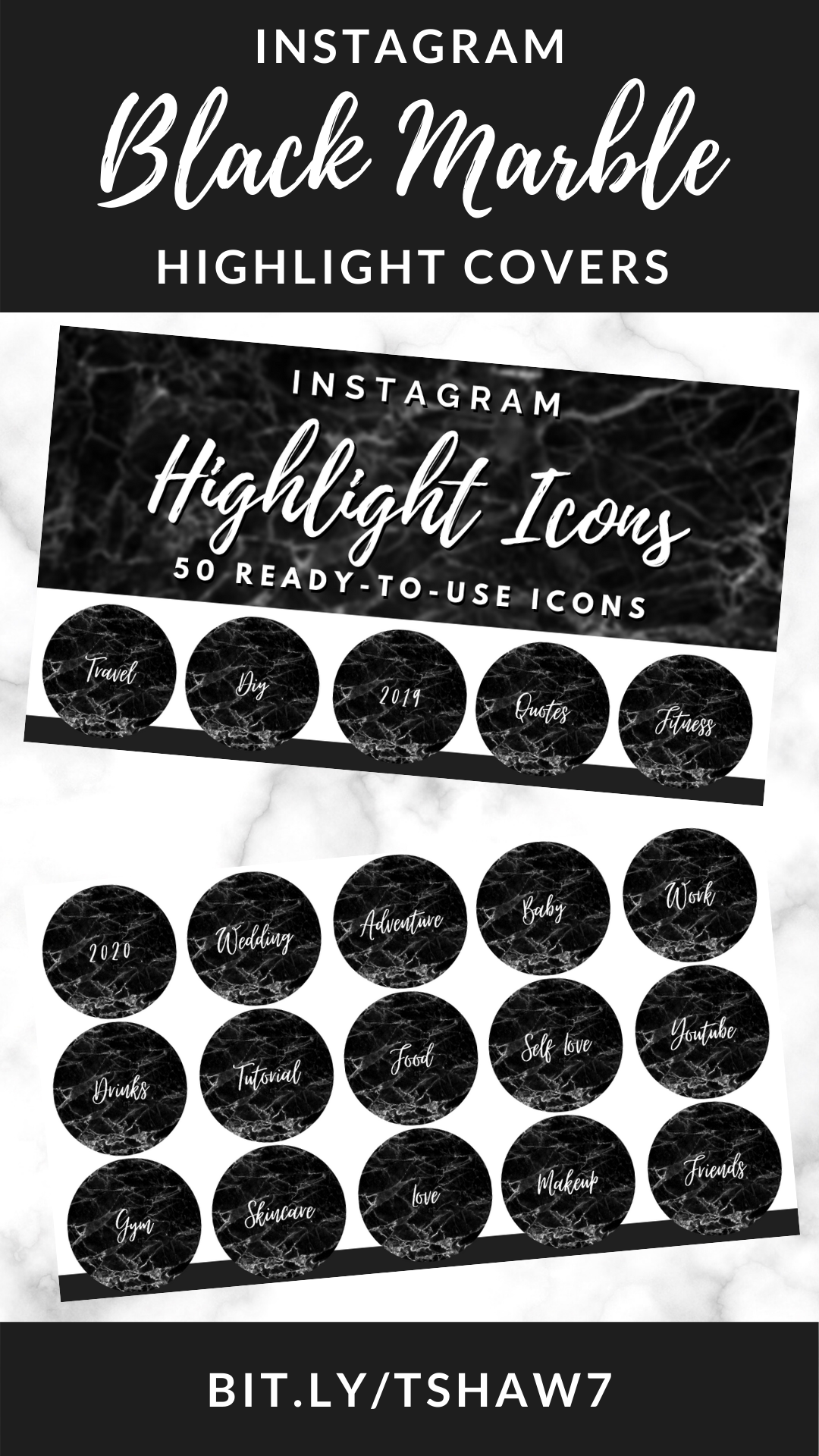 Photo of Black Marble Instagram Highlight Covers