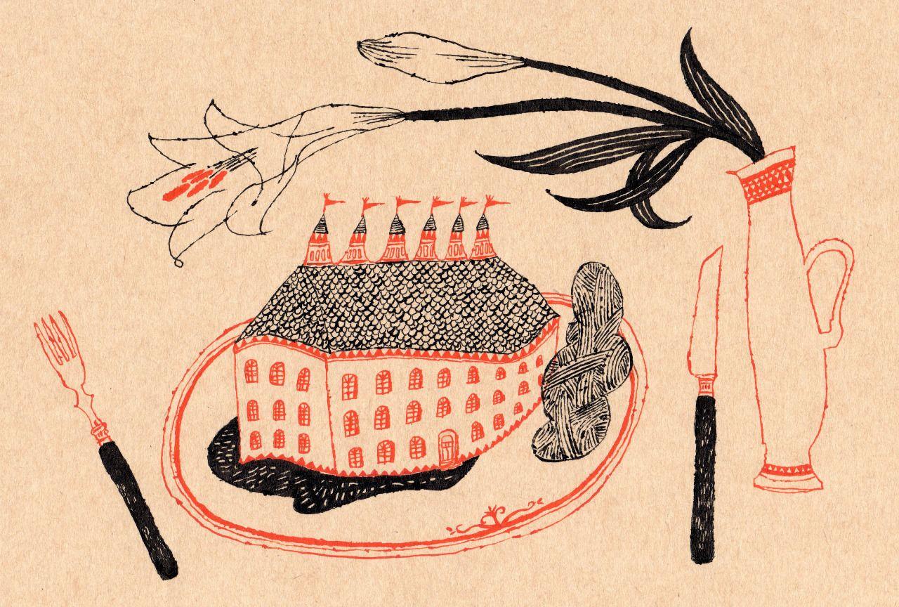 百合のある食卓 イラスト ヴィンテージイラスト イラストレーション