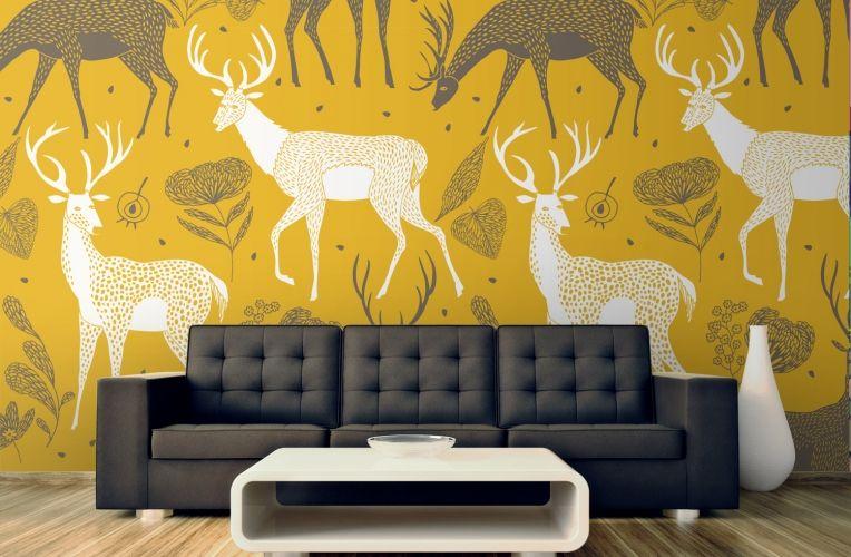 White Deer Wallpaper Wall Mural   Deer pattern, Wall murals and Walls