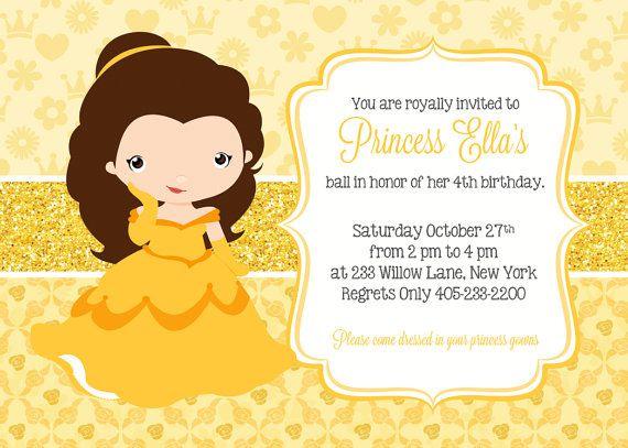 Princess Belle Invitation Princess Party Invitation