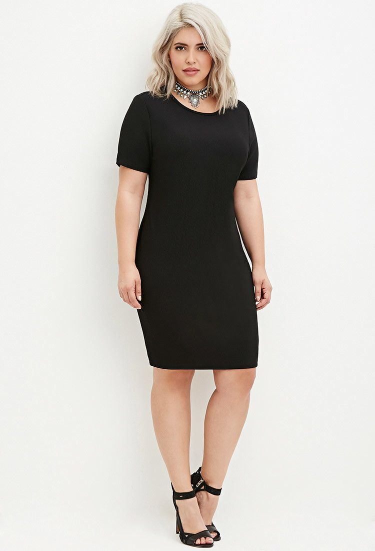 Black knit dress plus size