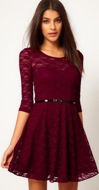 f2b5d8abf5 dress fashion skater dress mini dress lace lace dress cute girly gorgeous  burgundy red belt
