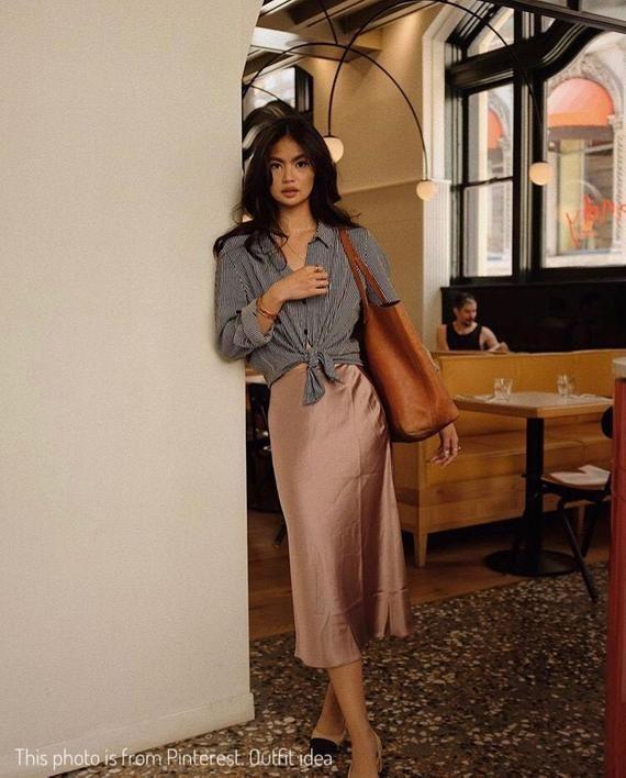 Photo of Silk slip skirt midi Cappuccino silk satin skirt Stretch silk slip bias cut dust…