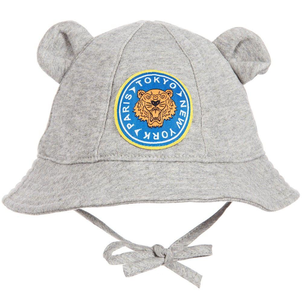 e4c7e8ecdcb Kenzo Grey Tiger Baby Hat with Ears at Childrensalon.com