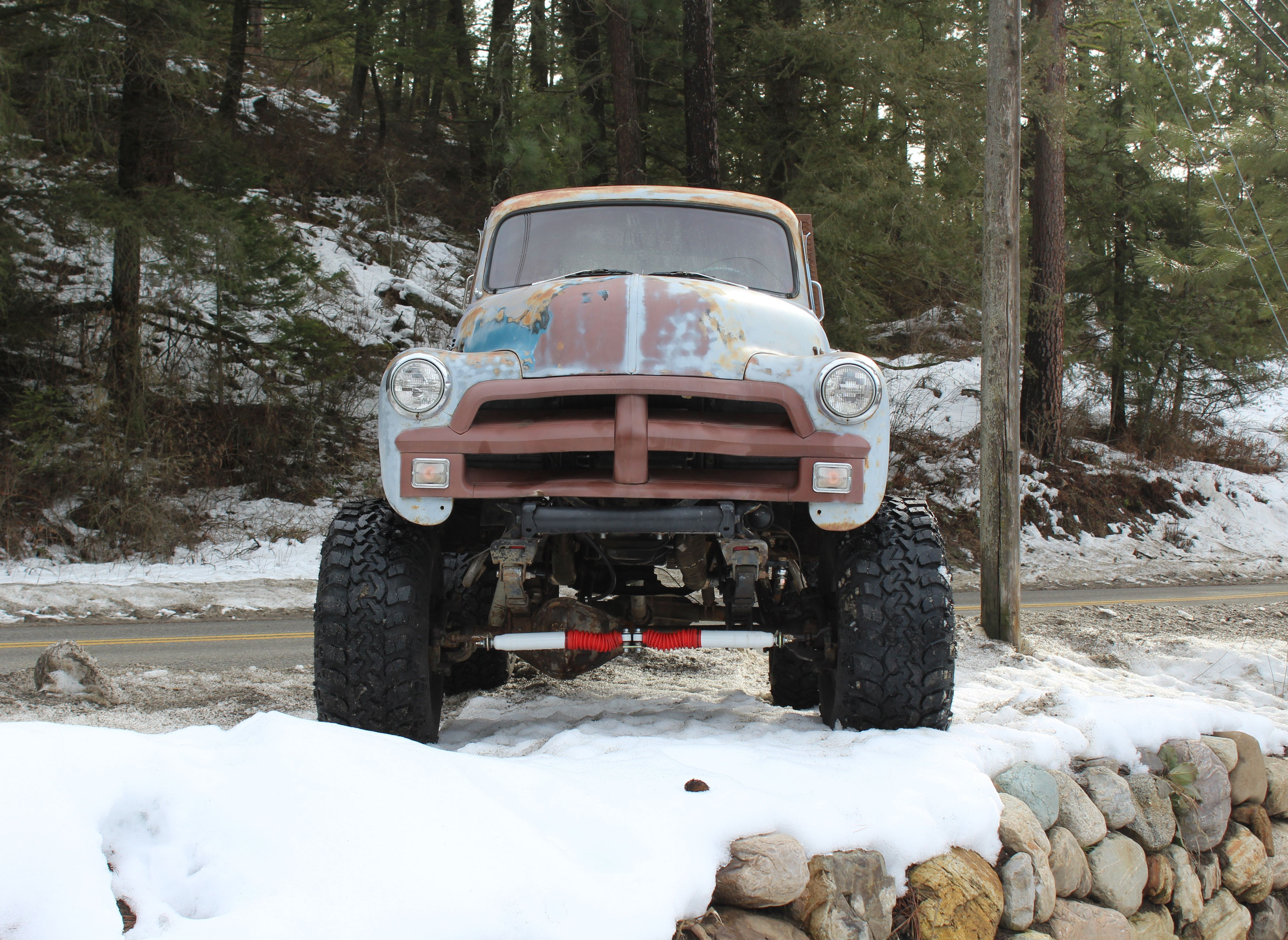 1954 Chevy 1 Ton 4 X Rat Rod Flat Bed Truck With 42 Iroks 4x4 For Sale