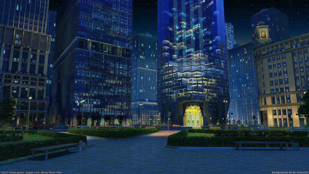 Corporation Street Night By Arsenixc Scenery Background Anime