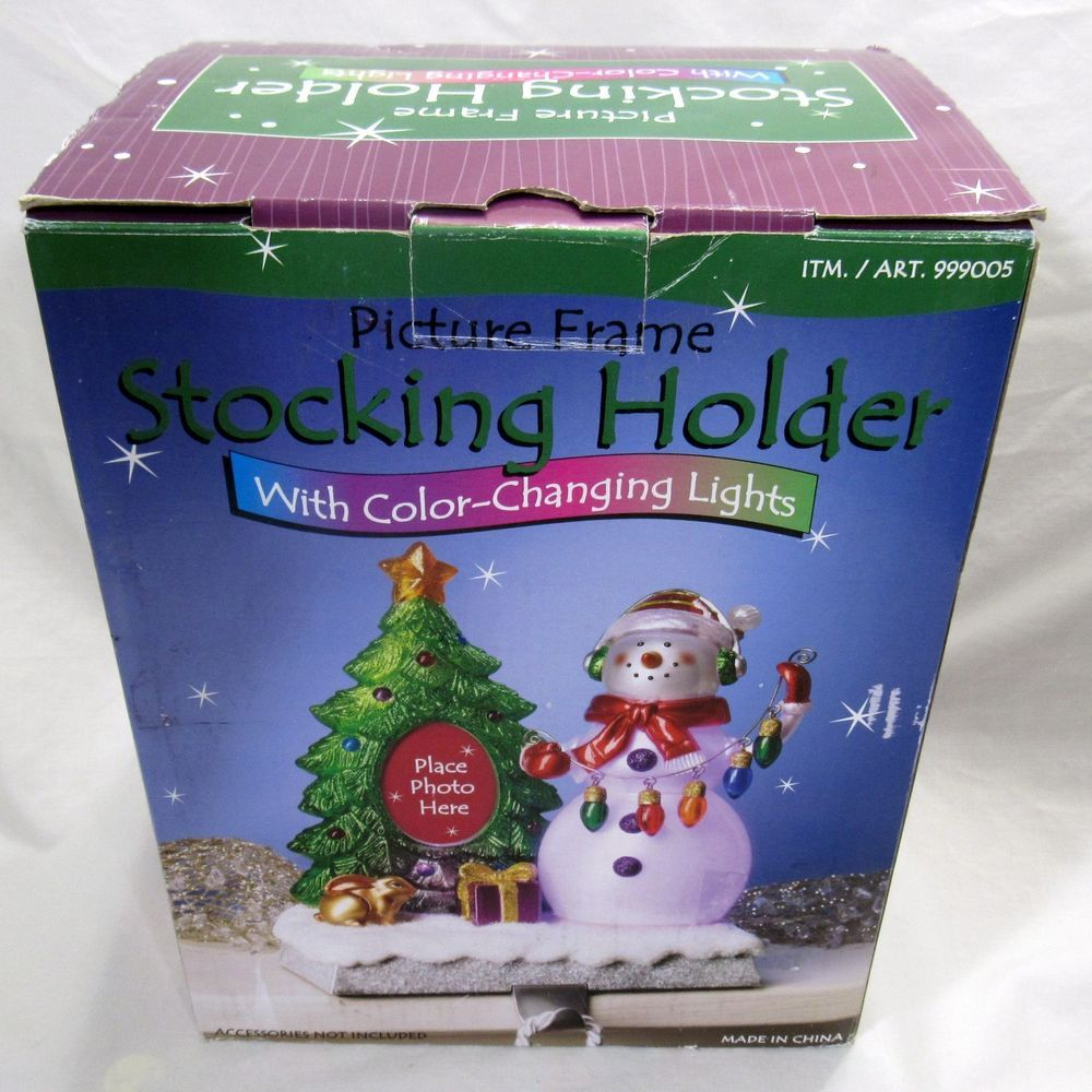 Stocking holder picture frame color changing lights snowman stocking holder picture frame color changing lights snowman christmas tree costco jeuxipadfo Images