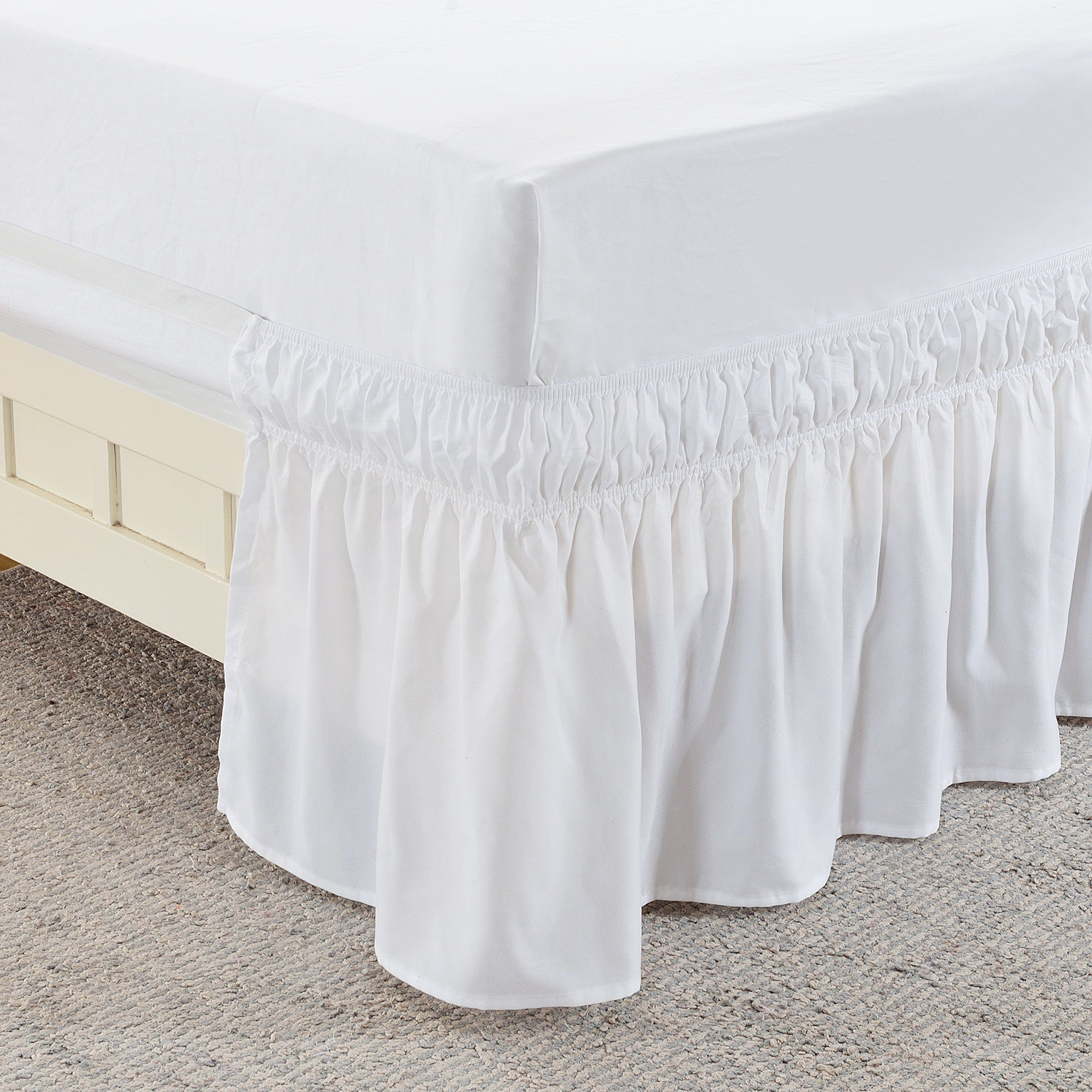 Meila Three Fabric Sides Wrap Around Elastic Solid Bed Skirt Easy