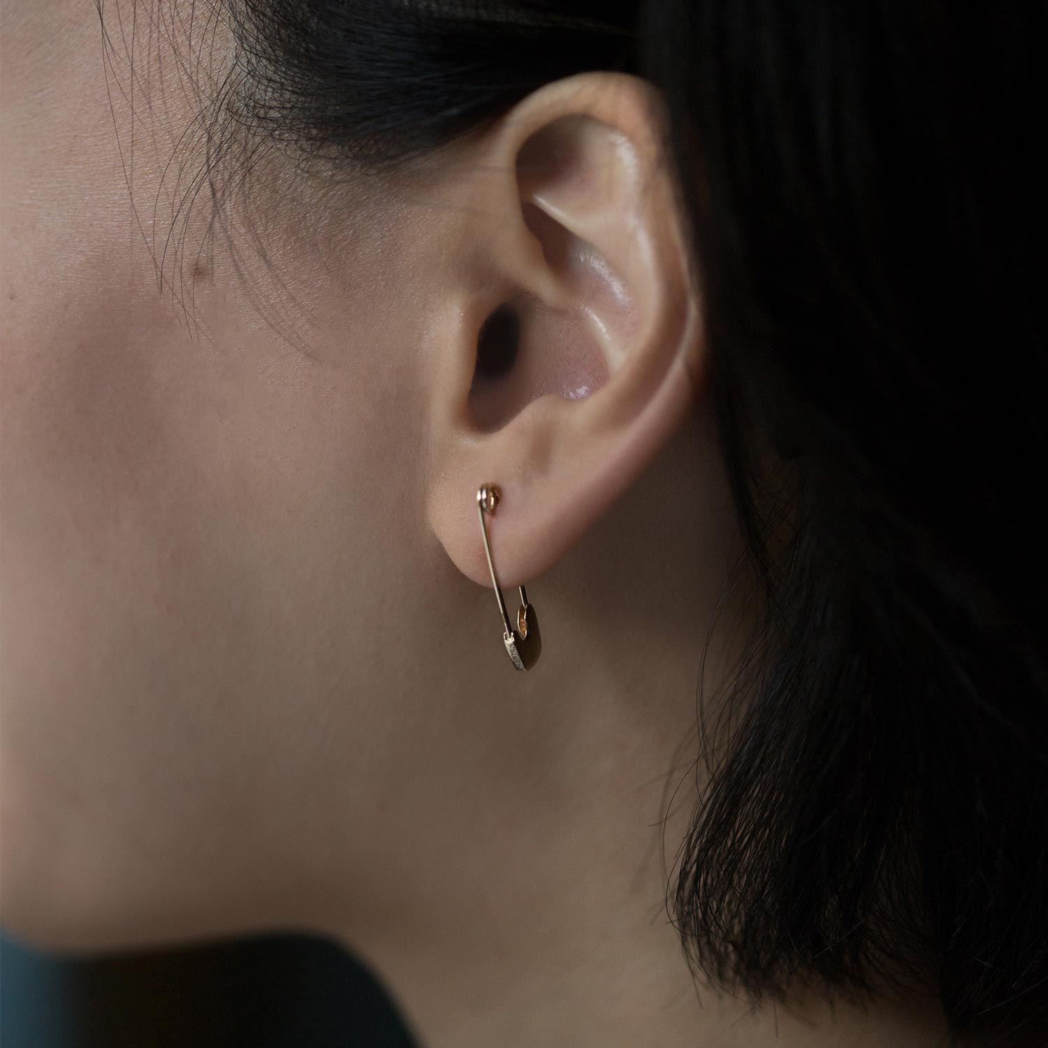 Gold Safety Pin Earring (Single) Safety pin earrings