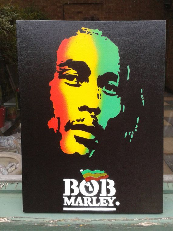 Bob marley painting canvas stencil art spray paints urban for Bob marley mural